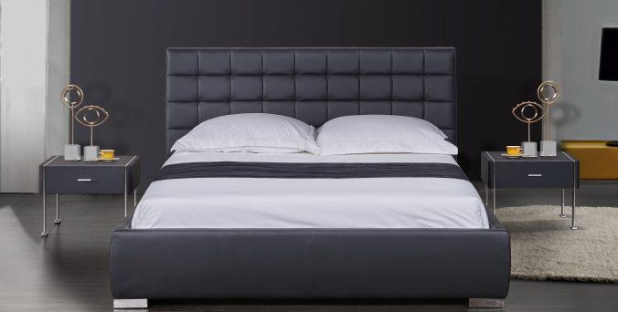 מיטה דגם ריבועים - שחור
