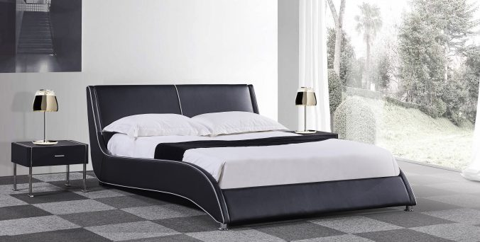 מיטה דגם גל - שחור