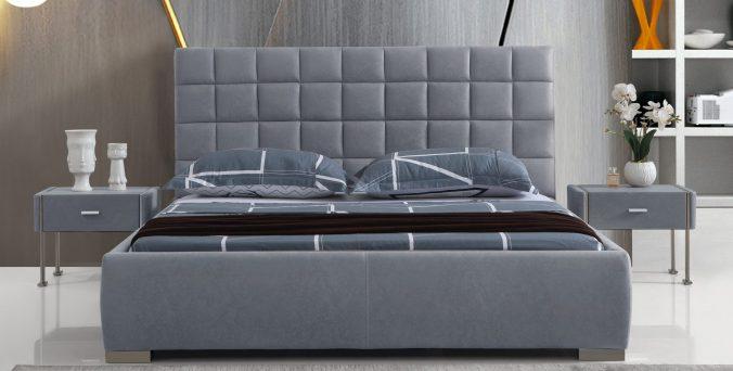 מיטה דגם ריבועים - אפור
