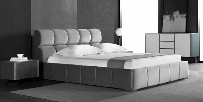 מיטה דגם סילבר - אפור קטיפה